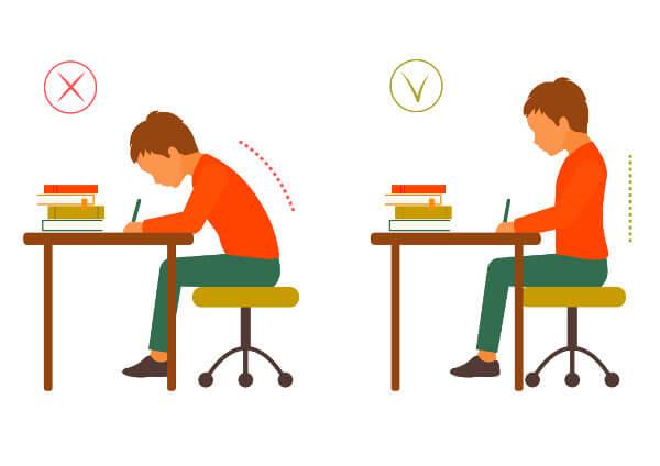 qual a postura correta para trabalhar sentado